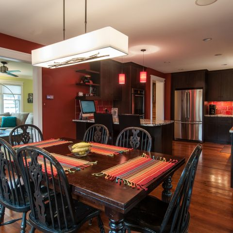 Cole project - craft style mid-century split level - dining room towards kitchen