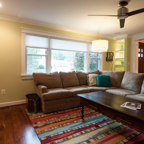 Cole project - craft style mid-century split level - living room toward foyer