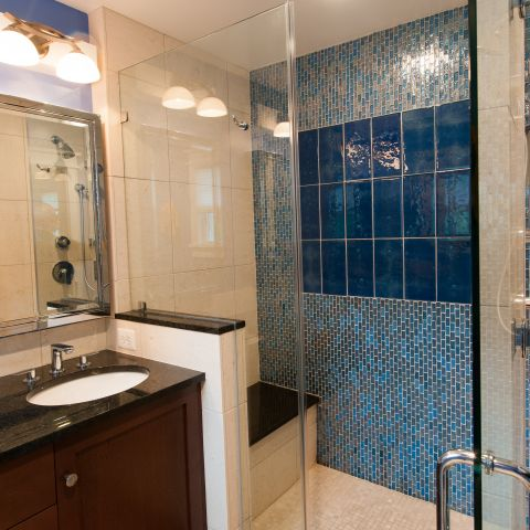 Cole project - craft style mid-century split level - master bath after