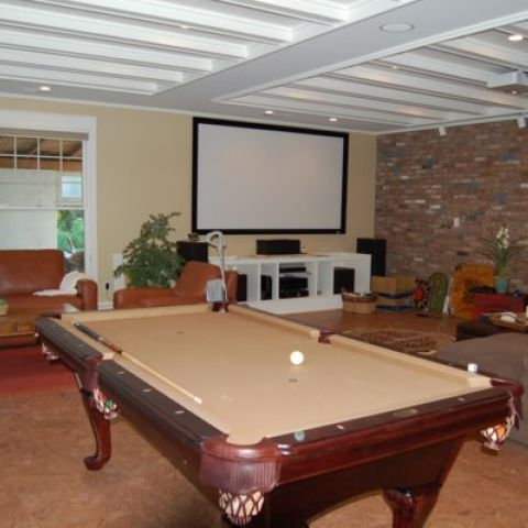 Enrico-Easton - waterfront cottage renovation - family room and game room