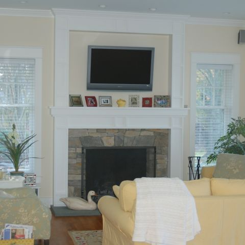 Enrico-Easton - waterfront cottage renovation - living room with fireplace