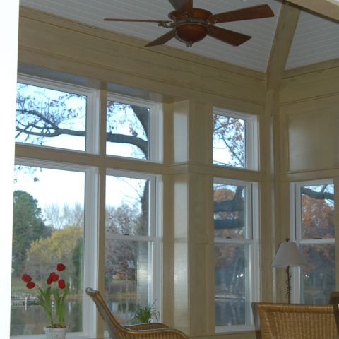 Enrico-Easton - waterfront cottage renovation - living room to screened in porch