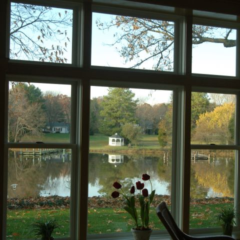 Enrico-Easton - waterfront cottage renovation - living room view of water