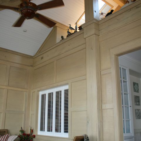 Enrico-Easton - waterfront cottage renovation - living room vaulted ceiling