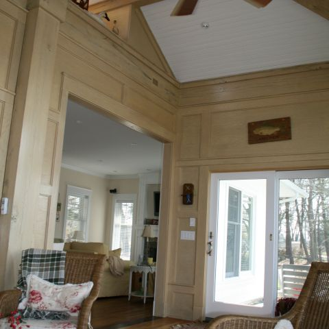 Enrico-Easton - waterfront cottage renovation - living room with vaulted ceiling