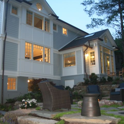 backyard details at dusk - McLean waterfront - Graham project