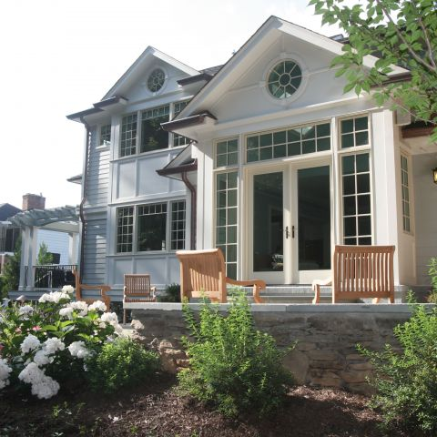 back patio in spring - McLean waterfront - Graham project