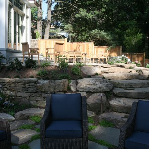 stonework in back patio - McLean waterfront - Graham project