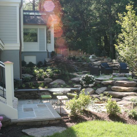 back patio and landscaping - McLean waterfront - Graham project