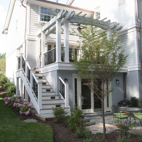 back porch with landscaping - McLean waterfront - Graham project