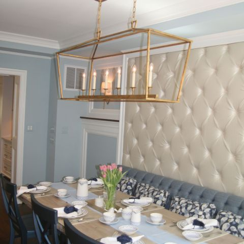 dining room with wall detail - McLean waterfront - Graham project