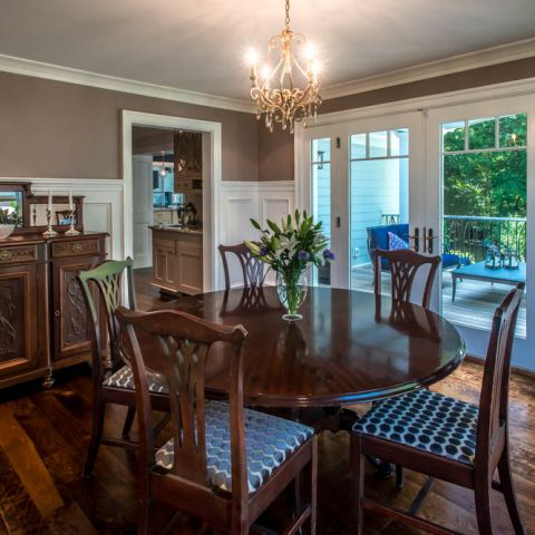dining room with deck views - McLean waterfront - Graham project