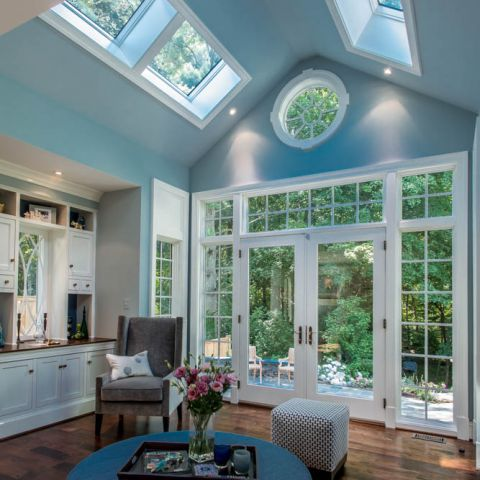 family room with vaulted ceiling towards rear yard