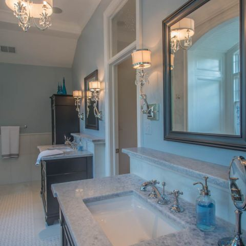 master bath with 3 vanities and shower - McLean waterfront - Graham project
