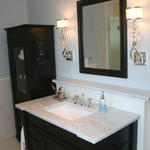 master bath sink and dark finishes - McLean waterfront - Graham project