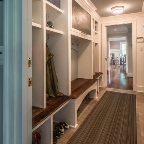 mudroom builtins looking at the dining room - McLean waterfront - Graham project