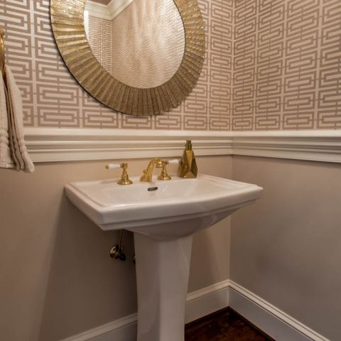 powder room details and wallpaper - McLean waterfront - Graham project