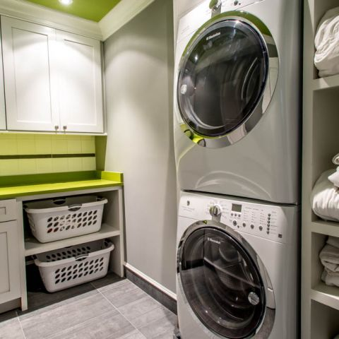 second floor laundry with lime green - McLean waterfront - Graham project