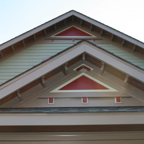 The detail of the Gable on the Henry project's house