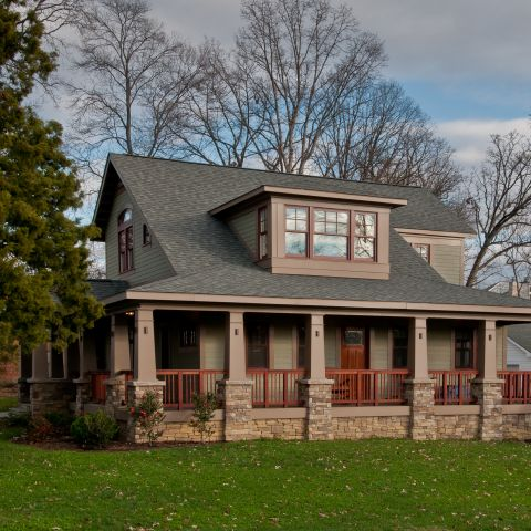 The Henry project's wrap around porch, front porch in the California bungalow style