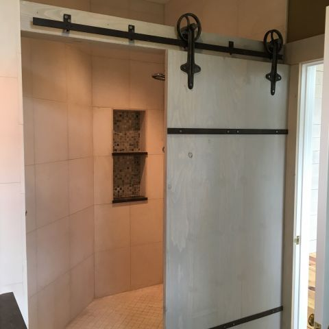barn door shower detail - shore house - karminski project