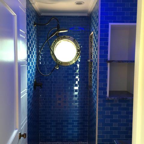blue hall bathroom - shore house - karminski project