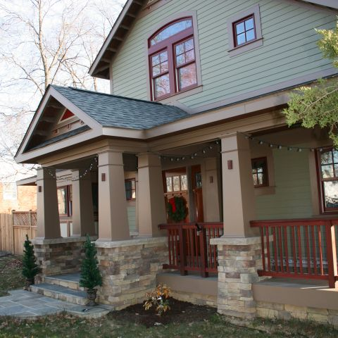 The Henry project's bungalow, complete with front porch and craftsman details