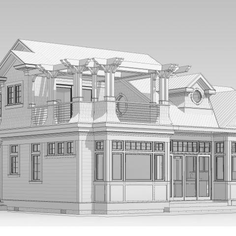 rendering left perspective - shore house - karminski project