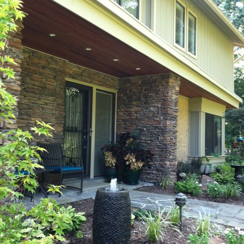 front exterior portico details for empty nesters home