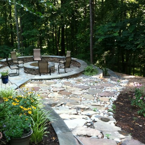 exterior firepit and stonework for empty nesters backyard