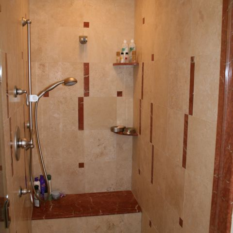 Master bathroom shower detail for empty nesters