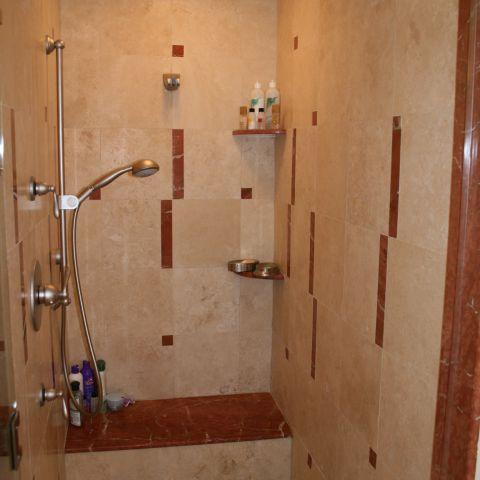 Master bathroom shower detail for empty nesters