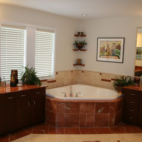 master bathroom and soaking tub for the empty nesters home