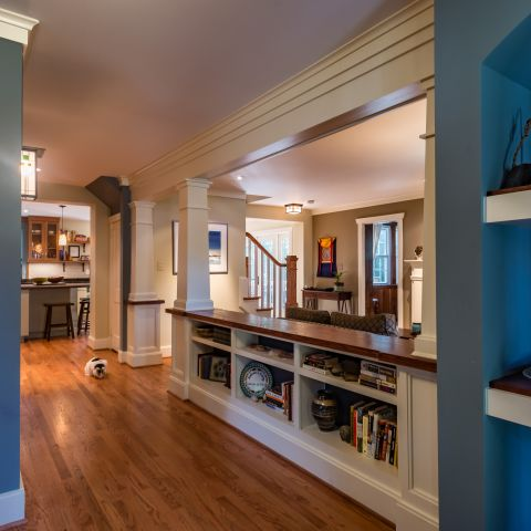 teal foyer with built-ins - Two story renovation - Loucks project