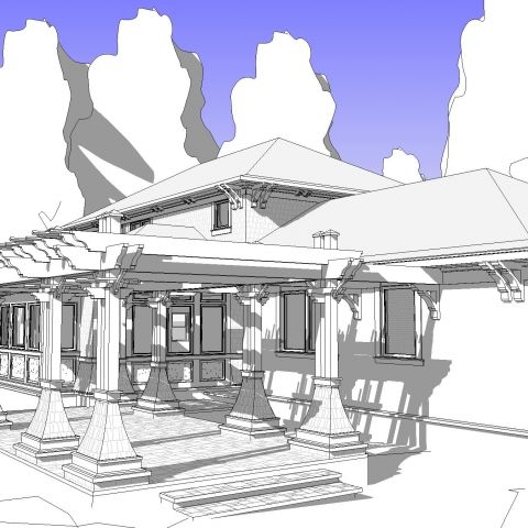 front of home rendering with pergola - McLean renovation - Smith project